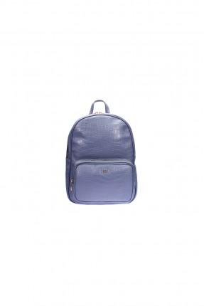 حقيبة جلد ظهر نسائية - ازرق