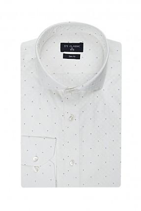 قميص رجالي بنقش - ابيض