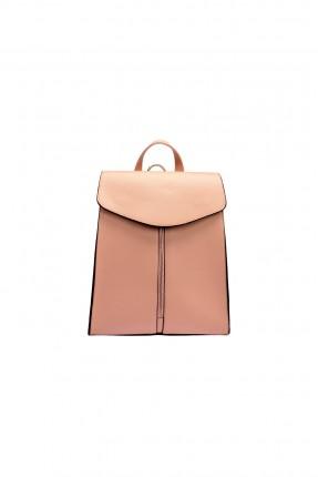 حقيبة ظهر جلد نسائي - وردي