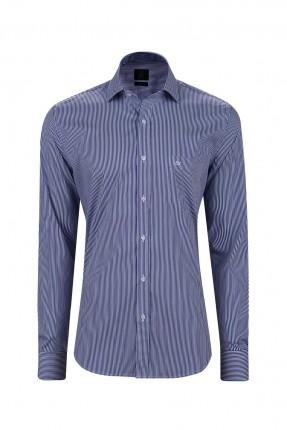 قميص رجالي مقلم - ازرق