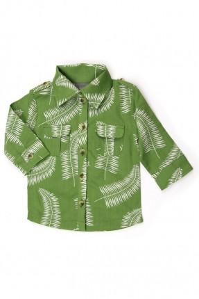 قميص اطفال ولادي مزخرف - اخضر
