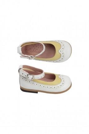 حذاء جلد اطفال بناتي - اصفر