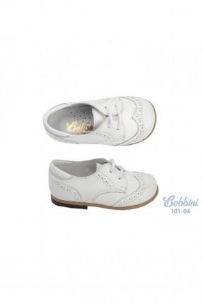 حذاء ولادي اطفال جلد - ابيض