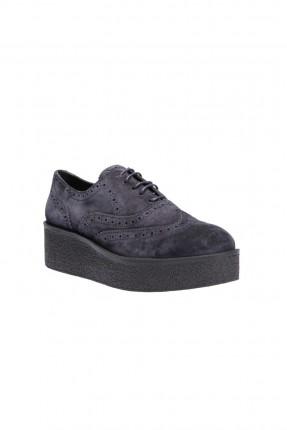 حذاء نسائي جلد - كحلي
