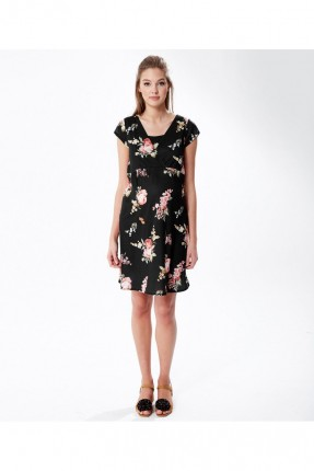 فستان نسائي قصير للحامل مورد - اسود