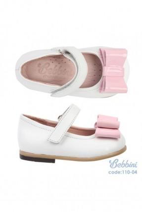 حذاء جلد اطفال بناتي - ابيض