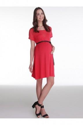 فستان نسائي للحامل مع حزام - احمر