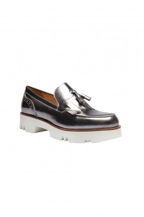 حذاء نسائي جلد - فضي