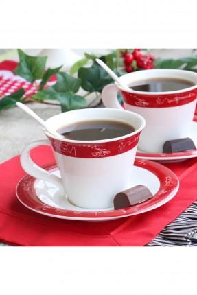 طقم فنجان قهوة احمر / 6 اشخاص /