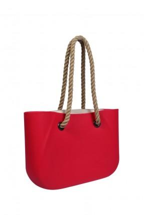 حقيبة يد نسائية مع تعليقة قنب - احمر