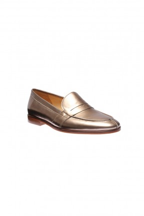 حذاء نسائي جلد - ذهبي