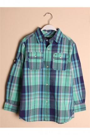 قميص اطفال ولادي كاروهات - اخضر