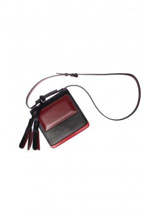 حقيبة نسائية جلد مع جيبة امامية - اسود