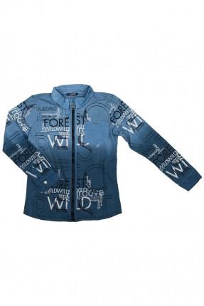 قميص اطفال ولادي مع طبعات - ازرق