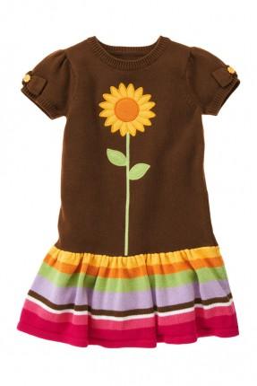 فستان اطفال بناتي - بني