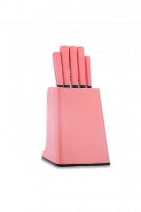 طقم سكاكين مع ستاند / 6 قطع / وردي
