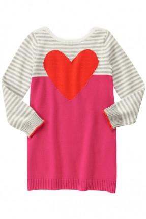 فستان اطفال بناتي نقشة قلب