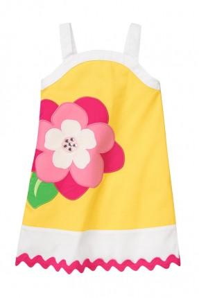 فستان اطفال بناتي نقشة ورد - اصفر