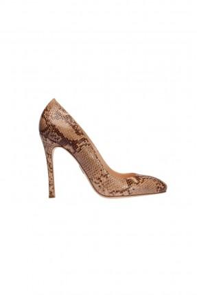 حذاء نسائي جلد بكعب - بيج