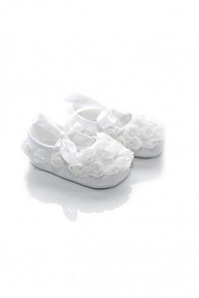 حذاء بيبي بناتي مزين بالورد - ابيض