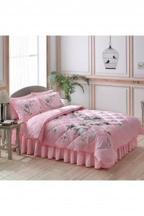 طقم لحاف سرير مزدوج / 5 قطع / وردي