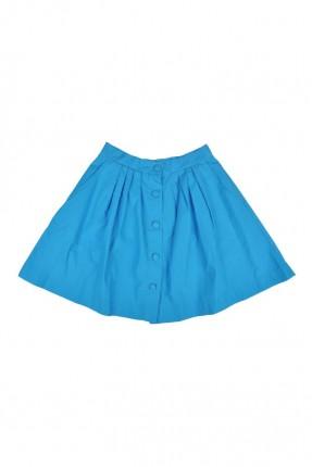 تنورة اطفال بناتي مع ازرار - ازرق