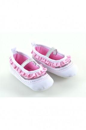 حذاء بيبي بناتي مزخرف - زهر فاتح