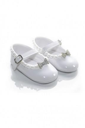حذاء بيبي بناتي مع بكلة - ابيض