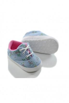 حذاء بيبي بناتي منقوش - ازرق فاتح