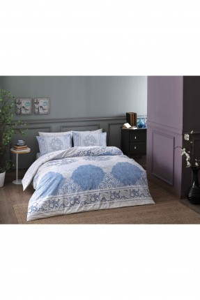 طقم غطاء لحاف سرير مزدوج / 3 قطع / ازرق