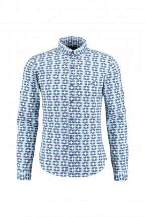 قميص رجالي منقش  - ازرق