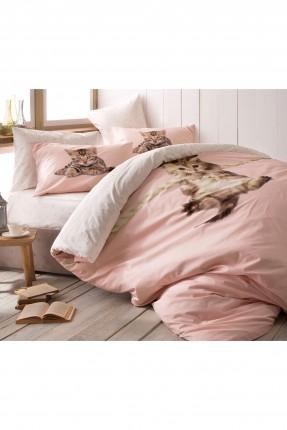 طقم غطاء لحاف سرير مزدوج / 3 قطع / وردي