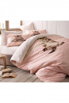 طقم غطاء لحاف سرير مفرد - وردي