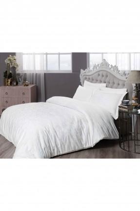طقم غطاء لحاف سرير مزدوج / 4 قطع / ابيض