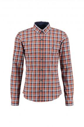 قميص رجالي كم طويل - برتقالي