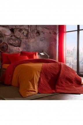 طقم غطاء لحاف سرير مفرد / 3 قطع / برتقالي