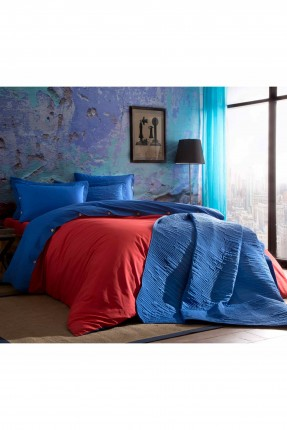 طقم غطاء لحاف سرير مزدوج / 3 قطع / احمر