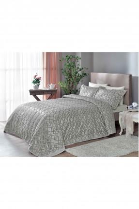 طقم غطاء سرير فردي / قطعتين / رمادي