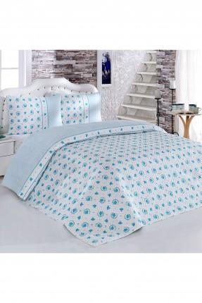 طقم غطاء لحاف سرير مفرد حجم كبير / 3 قطع / ازرق