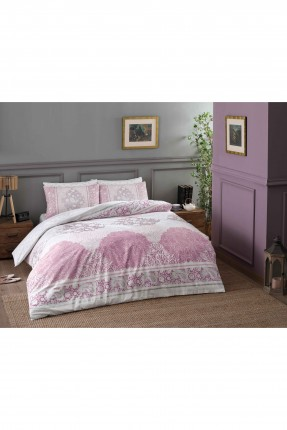 طقم غطاء لحاف سرير مفرد / 3 قطع / وردي