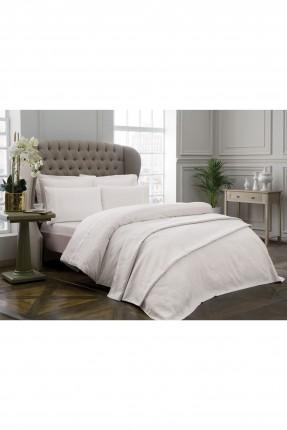 طقم غطاء سرير مزدوج منقوش / 5 قطع / ابيض