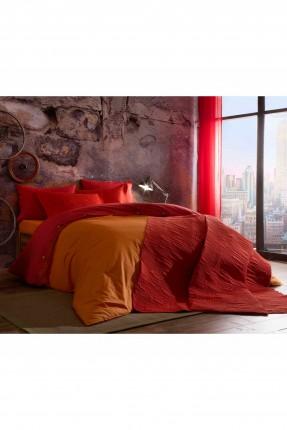 طقم غطاء لحاف سرير مزدوج / 3 قطع / برتقالي