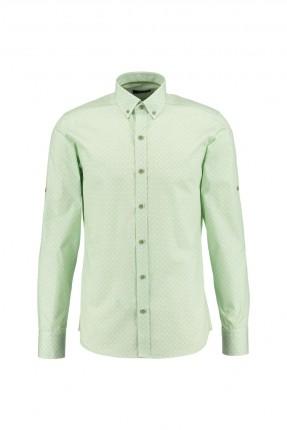 قميص رجالي منقوش - اخضر فاتح