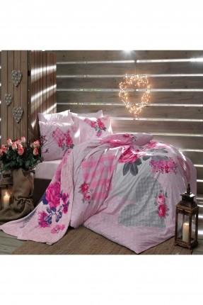 طقم غطاء لحاف سرير مزوج / 3 قطع / وردي