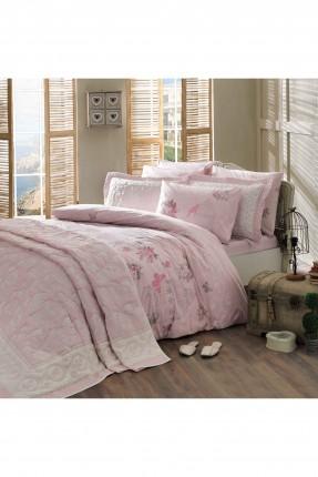 طقم غطاء سرير مزوج / 5 قطع / وردي