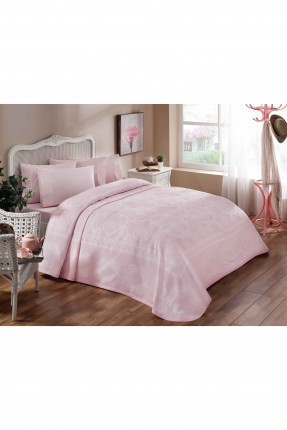 طقم غطاء سرير مفرد / 3 قطع / وردي