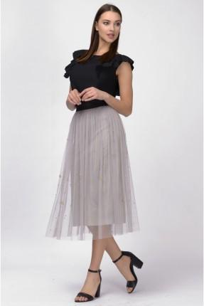 تنورة قصيرة مع ستراسات - رمادي