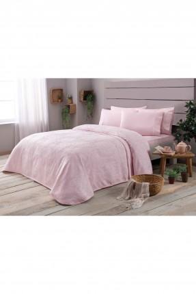 طقم غطاء سرير مفرد قطن / 3 قطع / وردي
