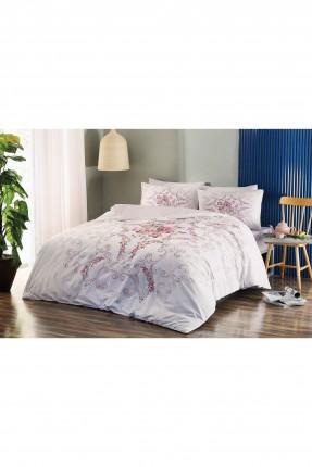 طقم غطاء لحاف سرير مفرد مقلم / 3 قطع / وردي