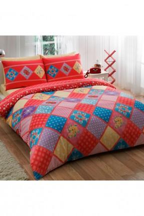 طقم غطاء لحاف سرير مفرد قياس صغير ملون / 3 قطع /